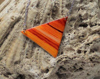 Orange Striped Handpainted Triangle Necklace