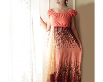 Off shoulder Peasant dress, peach, matching scarf, FREE SHIPPING, large, artsy, gypsy dress, festival, hippie, boho, maxi dress, turban