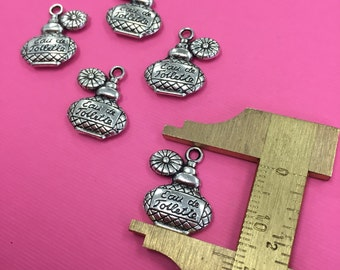 8 Perfume Charm, Perfume Bottle Charms, Perfume Pendant, Perfume Pendants, Antique Silver Perfume Charms, Antique Silver Perfume Pendants
