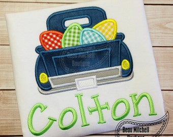 Easter Egg Truck Applique embroidery design