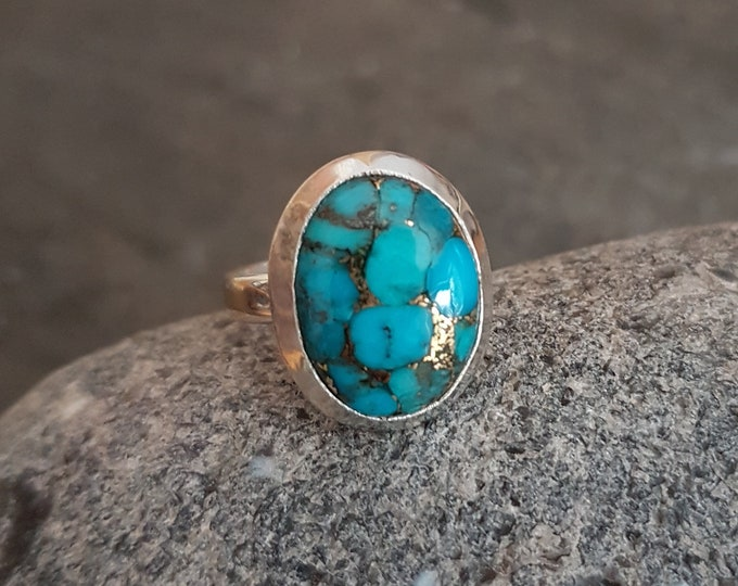 Large Mojave Copper Turquoise gemstone ring Sterling Silver  UK size N.5 US size 7