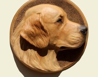Hand painted  Golden Retriever dog PERITAS wall sculpture statue fine art relief