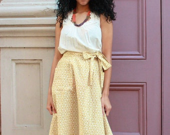 Fair Trade Golden Yellow Cotton Midi Skirt with Pockets: Eco Dyes and Ethical