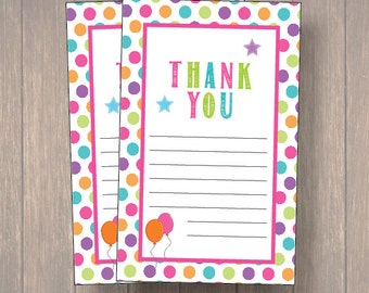 Tumble, Tumble/Gymnastic Thank you cards, Gymnastic Thank you notes, Birthday Thank you cards