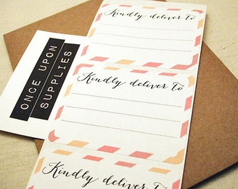 Pink and Peach Diagonal Stripes Address Labels / Stickers / Shipping Labels / Set of 30 / Calligraphy / Kindly Deliver To