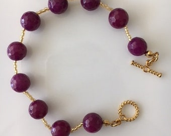 Deep Purple Jade Bracelet