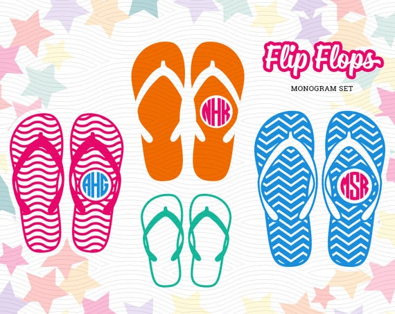 Flip Flops Monogram Labels Svg Eps Dxf Studio3 Summer Family