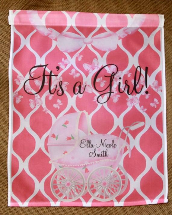 It's A Girl Garden Flag Personalized Baby Boy Baby Girl New Baby Gift, Baby Shower Gift, Personalized Outdoor Garden Decor Yard Garden Gift
