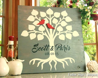 Family Tree Sign Wedding Guest Book Custom Name Sign Established Sign Anniversary Gift Engagement Gift Bridal Shower Gift Personalized Gift