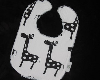Fun Black and White Giraffes and Chenille Bib