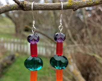 Sea Glass, Swarovski and Glass Earrings