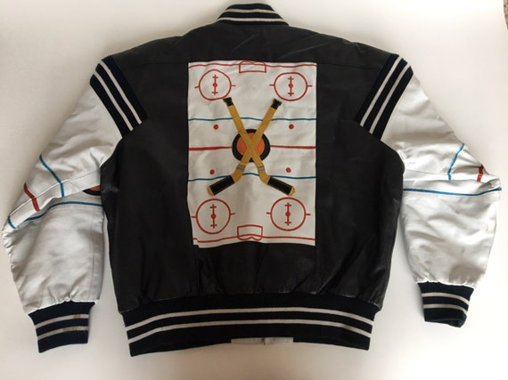 Rare Vintage 1991 Michael Hoban Leather Hockey Jacket Large 7uOBv