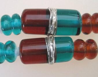 DUET - EMERALD & AMBER - Tubes - 5 Handmade Lampwork Glass Beads - Inv167-F1