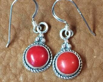 Sterling & Coral Drop Earrings