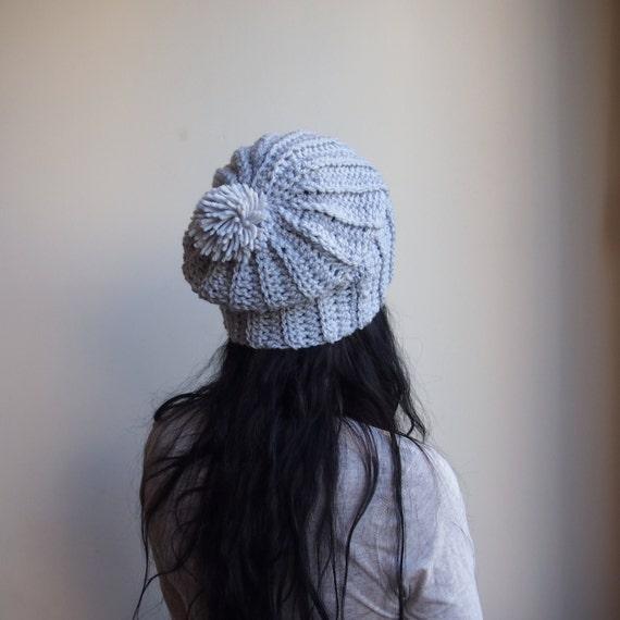 Crochet Pattern Chunky Slouchy Hat Pom Poom Hat Knit Look