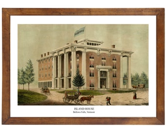 Island House, Bellows Falls VT; 24x36 inch print reproduced from a vintage painting or lithograph