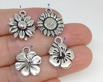 10pcs Hibiscus Flower charm, Flower Charm, Japanese Hibiscus Charm