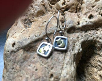 Silver and gold star and moon earrings