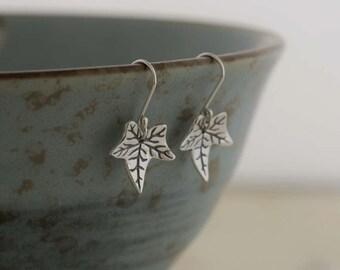 Fine Silver Ivy Leaf Earrings (Eco Friendly Silver Earrings Pmc fine silver jewellery Recycled  Silver clay jewellery Ivy Leaf jewelry)