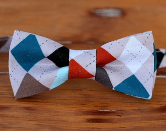 Mens gray cotton bow tie, men's gray multi argyle diamond bowtie - bow tie for men and teen boys - mens wedding bow tie - mens gift bow tie