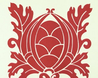 "Vicki Payne For ""Your Home Collection"" Cotton Sateen ""Crest"" in Cherry Decorator Width 54/55"""