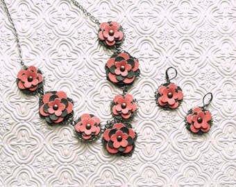Handmade Pink & Gray Flower Necklace Set / Pink / Gray / Grey / Floral / Necklace Set / Pink Flower / Coral / Wedding / Bridesmaid / Prom