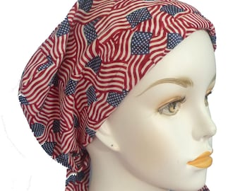 Womens Cancer Hair Loss Cancer Hat Chemo Scarf Cap Patriotic US American Flag