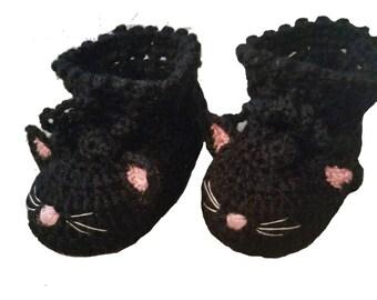 Black Cat Baby Booties Shoes, Crochet Cat Baby Booties, Black Cat Baby Shoes, Black Kitty Baby Slippers, Girls Halloween Cat Baby Booties