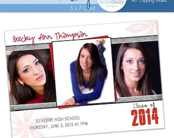 5x7 Graduation Announcement (Becky) Photoshop Template for Photographers