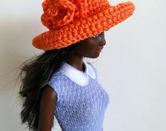 Orange Barbie doll cloche hat with flower, fashion doll hat, clothes