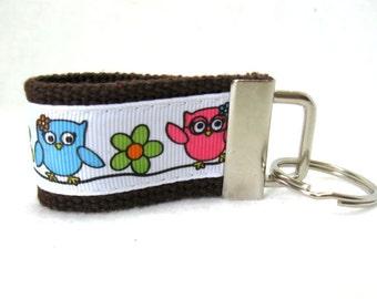 Owls Mini Key Fob - BROWN Owls on a Branch - Owl Key Chain - Owl Luggage Identifier - Small Owl Key Ring