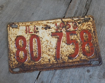Illinois License Plate 1953 Rustic Decor, Garage, Mancave, Industrial, Cafe and Bar Metal Wall Art