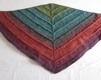 Hand knit triangle wrap scarf shawl green purple burgundy accessory