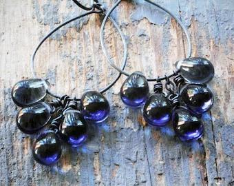 slate blue cluster hoop earrings. grey blue czech glass drops on oxidized sterling silver by val b.