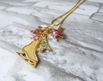 PARIS ICE SKATE Charm Gold Necklace Eiffel Tower Figure Skating Charm with Bow and Crystals Gift for Skaters