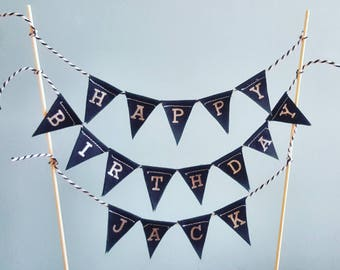 Monochrome personalised fabric cake topper bunting.