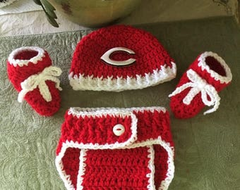 Cincinnati Reds Infant Hat, Diaper Cover, and Booties