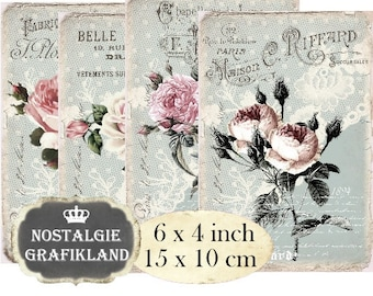 Paper Roses Lace Shabby Chic Old Vintage French Flowers 6 x 4 inch Instant Download printable digital collage sheet D216