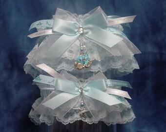 Blue Cinderella Rhinestone Pumpkin Carriage Wedding Garter Set