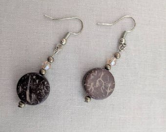 Natural Wood Circle on Bronze Dangle Earring with Little Gem