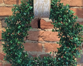 "15"" Faux Boxwood Wreath with Ribbon"