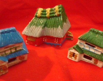 1940's Various Asian Occupied Japan Porcelain Hut Houses Set of 3 Vintage Fairy Garden Builders Delight Blue Green Red