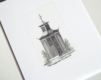 Sepia Pagoda Style Garden Aviary Antique Illustration Archival Print