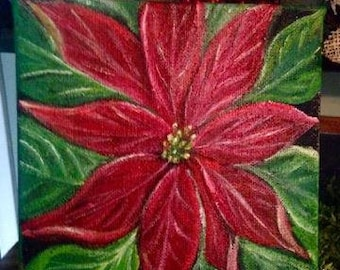 poinsettia painting, Christmas painting, Christmas decor, Holiday decor, poinsettia sign, red flower, christmas decoration, christmas art,