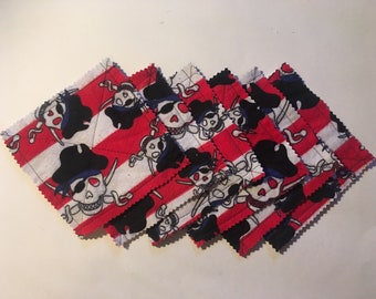 Pirates flannel coasters, set of 6