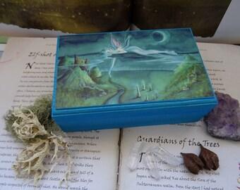 Jewellery Box, Trinket Box, Wooden box, Storage box, Faerie Art,  Fairy box, Spiritual Gift, Magical box, Essential Oils, Crystals, Adrift