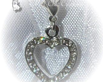 1 HEART RHINESTONE CHARM HAPPINESS METAL CARABINER CLIP CHARM SILVER * V375