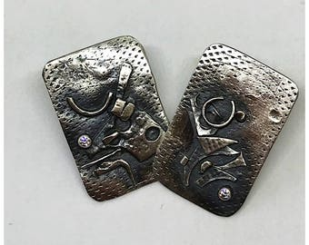 Square earrings, Silver earrings, Handmade jewelry, Boho jewelry, Bohemian jewelry, Trending jewelry, Free shipping, Gift wrapping, Her gift