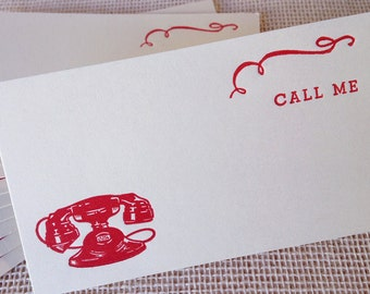 Letterpress Call Me Cards Set