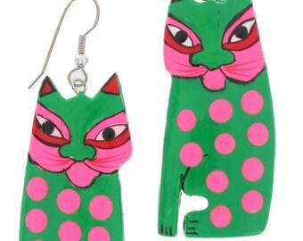 Green Cat Neon Pierced Dangle Earrings Spots Hand Painted Wood 1980S Vintage